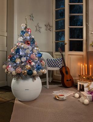LECHUZA-PURO Color 50 Pflanzgefäß in weiß mit Weihnachtsbaum