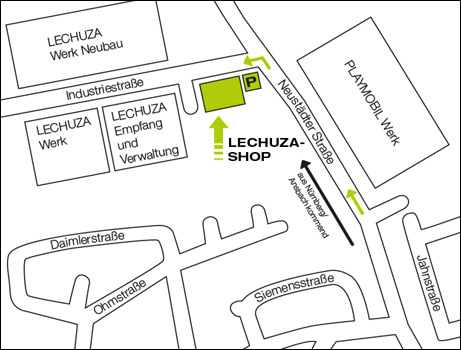 Anfahrtskizze LECHUZA Shop in Dietenhofen.