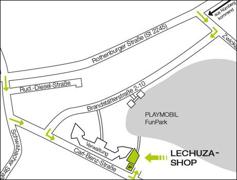 Anfahrtskizze LECHUZA Shop in Zirndorf.